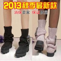 2013 rhinestone women's boots yarn knitted martin boots platform flat heel boots skull