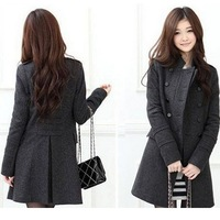 Free Shipping 2013 Woman New Fashion Women's Slim Wool Double-breasted Coat Winter,Black,Gray,S,M,L,3041