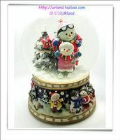 Skiing christmas snowman crystal ball music box snow globe