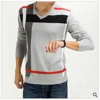 Free Shipping Korea Style Winter Warm Fashion Style Men's Sweater 1Pc/Lot V-Neck Knitting Sweater