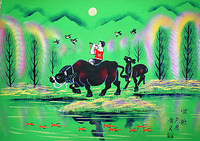 Rural children, bull riding, Huxian peasant paintings, hotel and home furnishing decoration painting.
