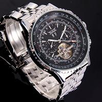HK Poat Free Shipping winner high quality sport calendar flywheel mechanical military watch mens steel strap wristwatch gift box