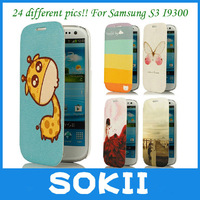 24 different Pics!!Galaxy S3 I9300 case,coloured drawing Wallet Flip Leather Cover case for Samsung Galaxy S3 I9300 Case