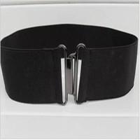 min $10 Free Shipping~~2013 Fashion Lady's Wide Elastic Belt Leather Belt Double Metal Buckle Waistband Stretchy Waist Belt