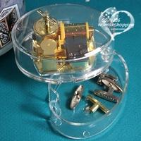 Double layer acrylic gold plated movement music box music box birthday gift christmas