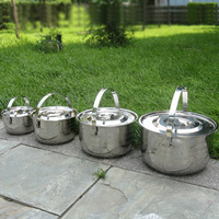 free shipping Portable outdoor cooking utensils thickening stainless steel cookware stove tableware easy teaking pots set