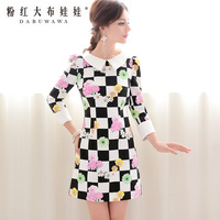 2013 autumn vintage flowers black and white checks three quarter sleeve one-piece dress a 9