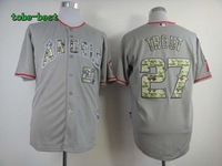 wholesale 2013 usa Los Angeles Angels #27 Mike Trout  Gray Camo Cool Base Jersey ,Size 48,50,52,54,56,mix order