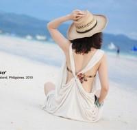 Bikini mantillas swimwear large beach racerback sexy solid color outerwear  beach dress