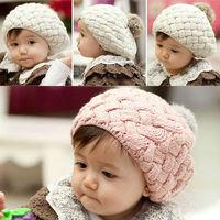 NEW Winter warm crochet knitting baby hat pom children Knitted hats kids skull beanie cap
