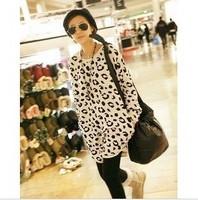 New Arrival 2013 Medium-long Cotton Loose Women's Pullovers Clothing O-neck Leopard Print Hoodies Sweatshirts Woman Big Size