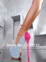 Denim/mei red spell color 6 inch ultra high heels spot with women's office shoes, size 40 41 42 43,free shipping