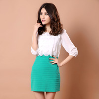 Small fresh 2013 elegant ruffle hem colorant match slim half sleeve chiffon one-piece dress summer