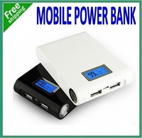 Free DHL!!12000 mAh 2 USB Charger External Battery Power Bank Pack for iPhone iPad Mobile phone