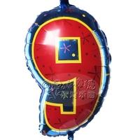 Free Shipping Multicolour digital balloon 9 aluminum foil balloon party supplies child birthday party balloon