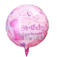 Free Shipping 18 girl 1 birthday aluminum foil aluminum balloon party supplies child birthday party balloon