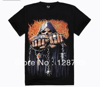 Free shipping, High Quality Man's 100% Cotton short sleeve T-shirt 3D printing. Print Skull shirt NZ07012