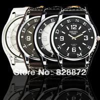Free Shipping ! Hot Elegant Unique Design Artificial Leather Big Dial Men's Watch Quartz Watch Perfect Gift Watch, D6