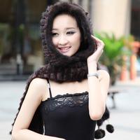 Mink scarf hat one piece lace marten hat thermal women's snow cap fur winter