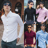 Fashion New Mens Slim Fitted Casual Formal Button Down Shirt Dress Tops Free Shipping