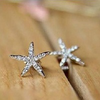 Fashion elegant rhinestone sea star Starfish earrings wholesale ! free shipping