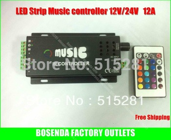 Music Controller /Audio sound sensitive for LED RGB Strip with 24keys IR remote12V/24V 12A Black Alu box Good QLY !Free ship!