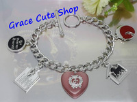 Free Shipping Logo Printed Heart Charm Bracelet Pendant Bracelet Brand Jewelry 2 Color Top Quality (Dust bag,Gift Box) #JCB170