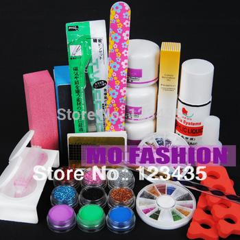 Free shipping  new hot sale Pro Acrylic Powder Liquid KITS NAIL ART TIP KIT Dust Polish set A009
