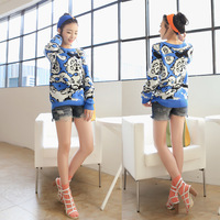 Free shipping 2013 casual all-match color block o-neck long-sleeve fashion pullover sweater 9160