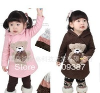 free shipping , high quality thick cotton autumn cute baby Long hoody  autumn warm  girs's dress  cute bear girl's coat