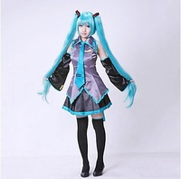 Hatsune Miku Cosplay Costume Clothes For Girl/Women Theatrical Costume 10 piece tops+skirts+belt+tie+2 Gauntlets+2 socks ect