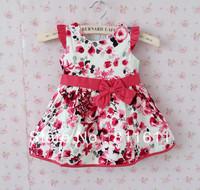 New Year Baby Girl Dresses Flower Printed Kids Dress Wholesale Children's Clothing (5Pcs /Lot)