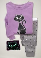 2014 New Kids Fashion Cat Pajamas Sets Baby Girl Blouse Long Slee T shirts Pants Pyjamas Clothing Set Children's Winter Pijamas
