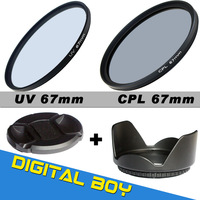 67mm Filter Kit UV+Circular Polarizer CPL 67mm lens filter+Lens Hood+Lens Cap kit for for Canon 50D 7D 60D EOS 17-85mm