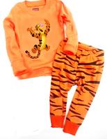 Kids 2014 Tiger Pajamas Clothes Sets Baby Girls Boys Long Sleeve T-Shirt Leopord Pants Pijama Set Children's Winter Pyjama Wear