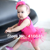 2013 New Summer Bodysuit Baby's formal gown TUTU one piece romper dress Hot Pink Junpsuit 6 pcs lot WFY1017