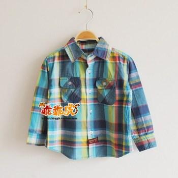 Summer boutique children's clothing cotton plaid 100% paragraph male child multi-color long-sleeve shirt top