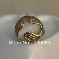 50% OFF 18K Rose Gold Plated Fashion White Opal Round Flower Finger Ring R2291