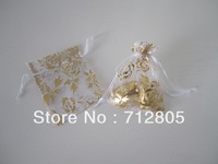 Free Shipping 100pcs/lot 7x9cm White Rose Flower Pattern Small Organza Pouch Jewellery Package Bag Dry Flower Bag Wholesale