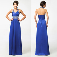 Free Shipping 1pc/lot Grace Karin Halter Silk-Like Luxury Elegant Women Long Formal Evening Banquet Gown CL4406