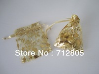 Free Shipping 100pcs/lot Gold Rose Flower Small Fashion Organza Bag 7x9cm Dry Flower Bag Voile Silk Ribbon Bag Wholesale