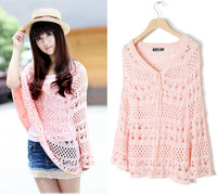 41003 cutout shirt crochet bandage V-neck pullover knitted sweater shirt