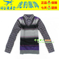 Hubao business casual top thermal underwear male plus velvet thickening shirt collar faux two piece 7823 - 108