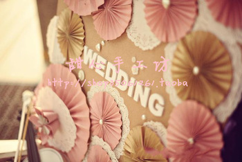 Sweetheart handmade large paper flowers finished product fashion lace folding fan flower decoration