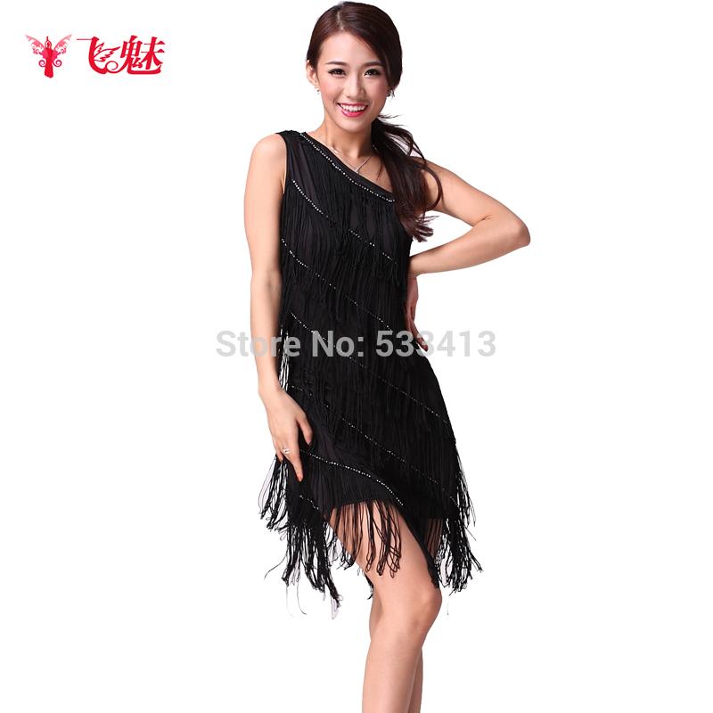 New style single spaghetti strap tassel Latin dance dress Latin dance performance wear practice dress(China (Mainland))