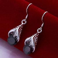 925 sterling silver fashion jewelry earrings beautiful earrings high quality Inlaid Purple Stone Cone Earrings