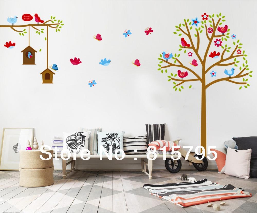 130x180cm-51-x71-JM7157-Cute-Forest-Wall-Sticker-Tree-Decorative-Bird ...