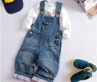 2014 free shipping Retail 1 pcs Top Quality!girl&boy denim overalls kids bib pants children casual bodysuit  in stock