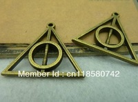 Min. order is $8(mix order)Vintage Bracelet Pendant,Antique Bronze Harry Potter And The Deathly Hallows Charm,Free Shipping!