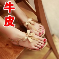 13 sandals cattle leather sandals female fashionable casual flower flat heel sandals bow women's shoes
